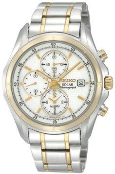 Seiko Men's SSC002 Alarm Chronograph Watch Seiko. $180.82. Solar. Chronograph movement. Water-resistant to 100 M (330 feet). Hardlex crystal. Two-tone. Save 46%!