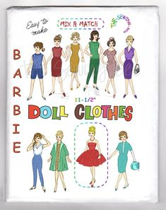 "Mix & Match Wardrobe. They have been professionally redrawn for a wonderful sharp pattern and directions! Barbie, Tammy, Midge, Terry and Jan also other 11-1/2"" fashion dolls. OLD DOLL PATTERNS. Attractive Outfits Consist of. 