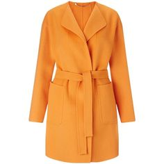 Marella Rialzo Belted Double Face Coat , Tangerine (14.640 CZK) ❤ liked on Polyvore featuring outerwear, coats, casaco, coats & jackets, tangerine, belted coat, orange coat, marella, lapel coat and marella coat