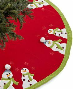 Jabara Christmas Tree Skirt, Googly Eye Snowman - Holiday Lane - Macy's