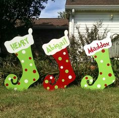 ANY PURCHASES FROM ALASKA OR HAWAII WILL EITHER HAVE TO HAVE ADDITIONAL SHIPPING PAID PRIOR TO PIECE(S) COMPLETION OR PURCHASE WILL HAVE TO BE CANCELLED AND REFUNDED BY SELLER.  This listing is for Personalized Christmas Stockings Yard Art Decorations. They would be a great addition to your Christmas yard decorations. They can be personalized to most names and/or Christmas verbiage. Colors and designs can be changed to meet your personal decor.  **IMPORTANT DESIGN DETAILS** ***This yard art…