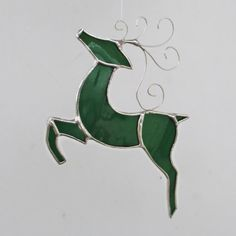 Green Flying Reindeer Stained Glass Christmas Ornament or