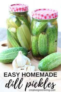 Learn how to make easy homemade dill pickles - no canning required! This crunchy pickle recipe uses kosher ingredients to make simple dill pickles that keep in your refrigerator. The combination of garlic and a traditional lacto-fermentation method create Making Dill Pickles, Sour Pickles, Homemade Pickles, Canning Pickles, Paleo, Keto, Crunchy Pickle Recipe, Crunchy Dill Pickle Recipe, Conservation