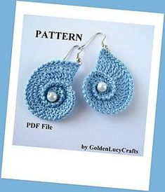 This pattern is for the Crochet Sea Shell Earrings. Sea Shell Earrings / love them! / CROCHET pattern / at widest part meas. GoldenLucyCrafts (on Etsy) - patterns Crochet Jewelry Patterns, Crochet Earrings Pattern, Crochet Accessories, Crochet Jewellery, Crochet Hook Sizes, Crochet Hooks, Knit Crochet, Double Crochet, Single Crochet