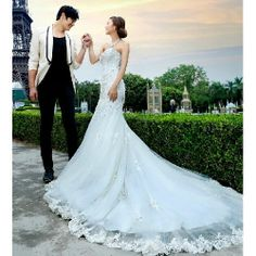 Best White Beaded Lace Mermaid Formal Wedding Bridal Gowns Dresses SKU-117164
