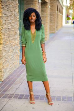 Fashion Blogger, Folake Kuye Huntoon  @Style Pantry -- Embellished Long Sleeved Midi Dress
