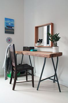This reclaimed wood vanity table was a DIY project by this Apartment Therapy House Tour homeowner. The trestle legs are from IKEA. Industrial Furniture, Diy Furniture, Furniture Plans, Industrial Style, Industrial Desk, Furniture Cleaning, Recycled Furniture, Reclaimed Wood Vanity, Rustic Vanity
