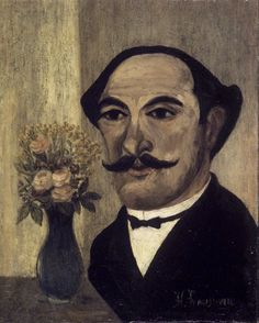 """As a self-taught painter, Henri Rousseau was completely untrained in any established art techniques. He is best known for his naïve, or primitive, childlike jungle scenes. He was good at painting and music as a child, but spent most of his life in the profession of a customs officer at the outskirts of town. Because of this, he was also referred to as Le Douarneir, or the """"Customs Officer."""" He started painting seriously at the age of forty and by the time he was 49 he retired from his job…"""