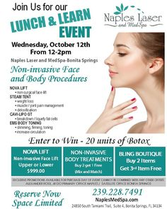 Next Wednesday join @napleslasermedspa  for a lunch & learn event about non-invasive face & body procedures! Enter to WIN 20/units of BOTOX!!  #livelocal #naples #napleslaser #botox #movalift #steamtent #cavilipo #toning #swfl #florida #lookyourbest #bonitasprings #local