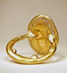 Katherine Bowman 18ct yellow gold 'Inscription' ring set with twenty small white diamonds on the underneath