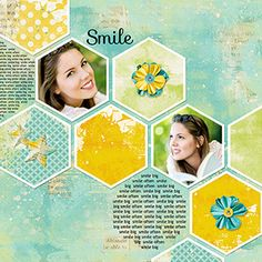 hexagons on the diagonal  -- Digital Scrapbooking Layout by Syndee Nuckles