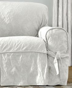 Sure Fit Matelasse Damask 1-Piece Loveseat Slipcover - White