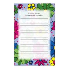 Cute Colorful Green Pink Blue Flowers on Blue Stationery - home decor design art diy cyo custom