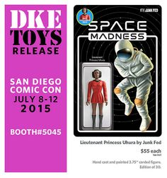 """DKE Toys have announced their newest SDCC exclusive – a Star Wars and Star Trek mash-up. From Junk Fed's Space Madness line, this hand cast and painted 3 ¾"""" carded figure … Hand Cast, It Cast, Space Toys, San Diego Comic Con, Vinyl Toys, Star Trek, Princess, Memes, Cards"""