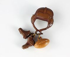 Celluloid Football Helmet Shoes Pin (1940's)