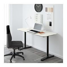 "IKEA - BEKANT, Desk, white/black, 55 1/8x23 5/8 "", , 10-year Limited Warranty. Read about the terms in the Limited Warranty brochure.You can mount the table top at a height that suits you, since the legs are adjustable between 25 5/8""- 33 1/2"".The melamine surface is durable, stain resistant and easy to keep clean.It's easy to keep your desk neat and tidy with the cable management net under the table top."