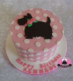 Puppy Love gluten free first birthday cake with Scottie dog & polka dots