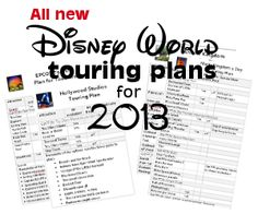"New Disney World touring plans for 2013 – Word and PNG formats + QR codes--don't know if I'm this ""plan"" oriented on vaca, but it gives great tips of what rides have height requirements, fast passes, and other insider info"