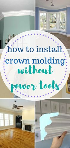 Learn how to install crown molding without using any power tools!   DIY Home, DIY Home Decor, DIY Home Upgrades, Easy Home Upgrades, Inexpensive Home Updates