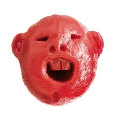 heads made with babybel package, 2001 [miniature wax sculptures from babybel cheese wax; link to series of sculptures]