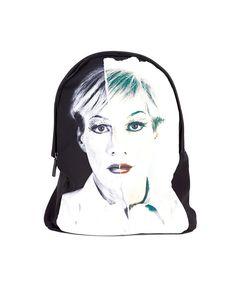 Black neoprene backpack Andy Warhol print two adjustable leather shoulder straps one inner pocket upper zipper closure