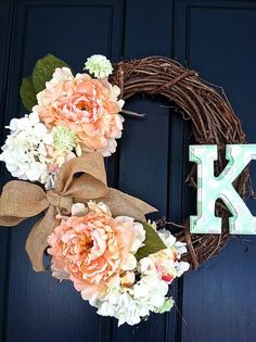Beautiful DIY Personalized Wreath with your initials love the pink flowers and burlap bow!