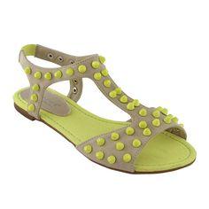 Nude + Neon Sandals
