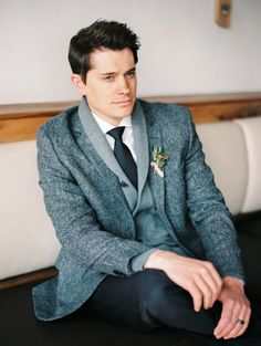 Winter Groom in a Tweed Jacket and Sweater