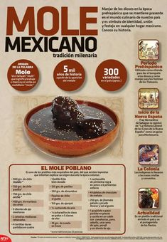 Mole Mexicano Molli is the nahuatl word for sauce. Mexican Kitchens, Mexican Cooking, Mexican Dishes, Authentic Mexican Recipes, Mexican Food Recipes, Mexican Mole, Mexican Chicken Mole, Do It Yourself Food, Traditional Mexican Food