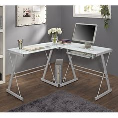 Corner White Glass Metal Desk Home Office Study Keyboard Tray Computer Stand #WEF #Contemporary