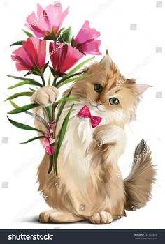 Kitten gave a bouquet of flowers watercolor painting