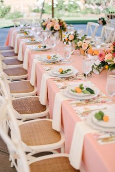 Beautifully Chic Pink Citrus California Wedding in Sonoma - MODwedding Featured Photographer: Melanie Duerkopp Photography; Table Wedding, Mod Wedding, Wedding Receptions, Reception Ideas, Wedding Ideas, Spring Wedding Colors, Wedding Place Settings, Party Photography, Summer Weddings