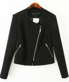 Black Draped Front Oblique Zipper Blazer 31.67
