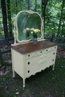 antique dresser with mirror Refurbished Furniture, Farmhouse Furniture, Paint Furniture, Repurposed Furniture, Furniture Projects, Furniture Makeover, Vintage Furniture, Home Furniture, Furniture Refinishing