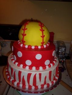 Softball Team Cake - This was for my daughter's softball team. Their socks were red with white polka dots, so that was part of the inspiration. Made from rounds & Wilton sports ball pan, all buttercream and fondant. Softball Birthday Parties, Softball Party, Softball Stuff, Softball Mom, Softball Things, Softball Crafts, Beautiful Cakes, Amazing Cakes, Yummy Treats