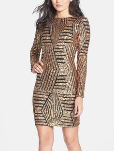 Ready to party in this gold sequin body-con dress!