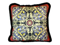 "Angela Pillow - Black/Red/Yellow by BentonArtandDesign on Etsy  A pillow in the ""Angela"" design from Benton Art & Design, depicting a florid web of Italian ornament.  Great inspiration was taken from the rich decorative schemes incorporated into the architecture in Florence and surrounding areas.  Color: Black/Red/Yellow Material: 100% Organic Cotton Sateen Edge: Black Fringe Size: 17""x 17"" square  - Finished with zipper for insert replacement - Includes insert - Dry Clean Only - Double…"