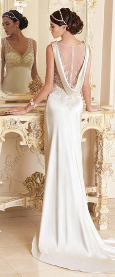 Elegant Stretch Satin V-neck Neckline Natural Waistline Sheath Wedding Dress