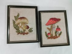 Expertly hand crafted needle work! Adorable mushrooms in red and earth tones. They are mounted in 8x10 black and Gold frames. I refund