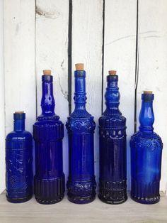 Vintage cobalt blue glass bottles  blue supply by MellaFina,