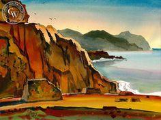 Milford Zornes - Point Dana, 1991 - California art - fine art print for sale, giclee watercolor print - Californiawatercolor.com