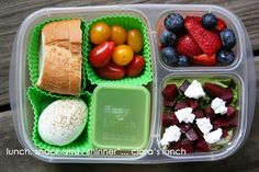 A light and healthy lunch with a beet and goat cheese salad! - packed in @EasyLunchboxes
