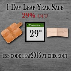 Don't miss your chance only a few hours remaining to 29% off your order! USE PROMO CODE LEAP2016 Thank you to everyone who has already placed an order. We are working on having them all shipped out tomorrow! #1350Leather #MadeInAmerica #QualityGoods