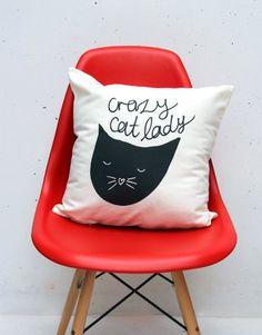 Crazy Cat Lady Throw Cushion from Zana