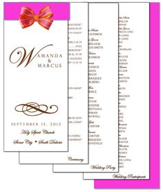 4 Page We Personalize You Print Layered Wedding Program Monogram Style