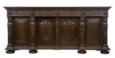 ~ Massive 1920's Swedish Carved Oak Baroque Sideboard Buffet ~ onlinegalleries.com