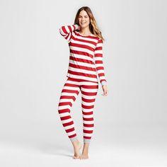 Burt's Bees Women's Organic Cotton Striped Pajamas Red XL : Target