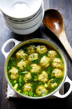 Spinach Meatball Soup with Middle Eastern Spices #meatballs #meatballsoup