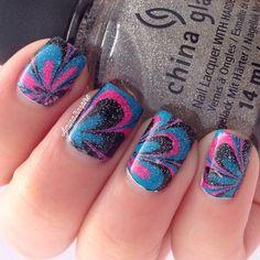 pink, blue & black watermarble Instagram media by amina2inspire  #nail #nails #nailart
