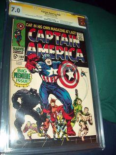 Captain America #100 CGC 7.0 SS Stan Lee 0982379006